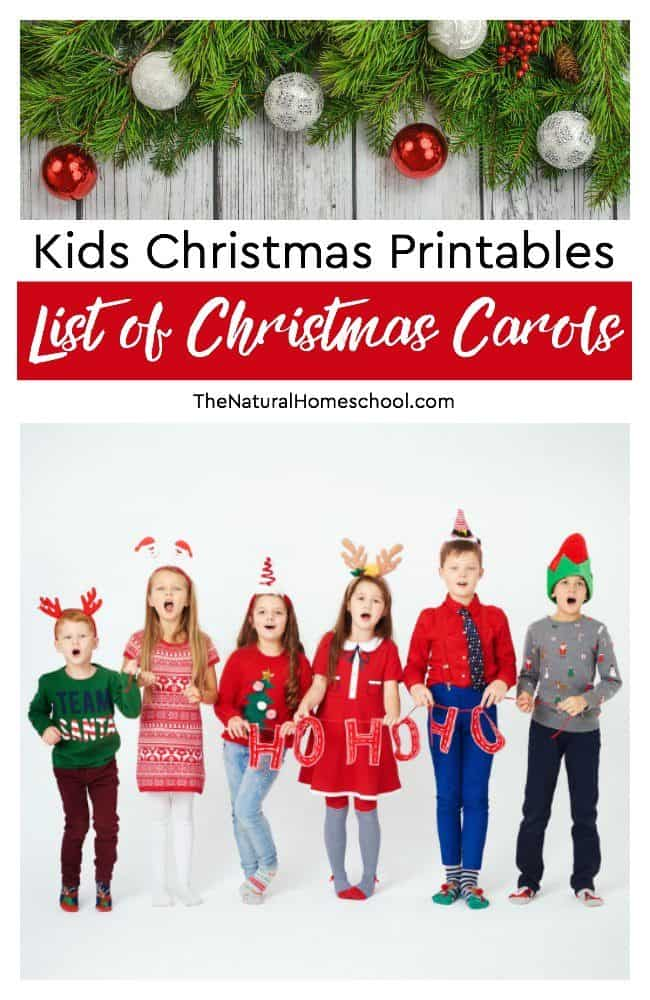 10 Kids Christmas Printables ~ List of Christmas Carols - The ...