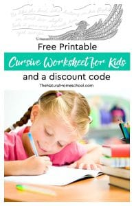 Free Printable Cursive Worksheets for Kids {and a discount code}