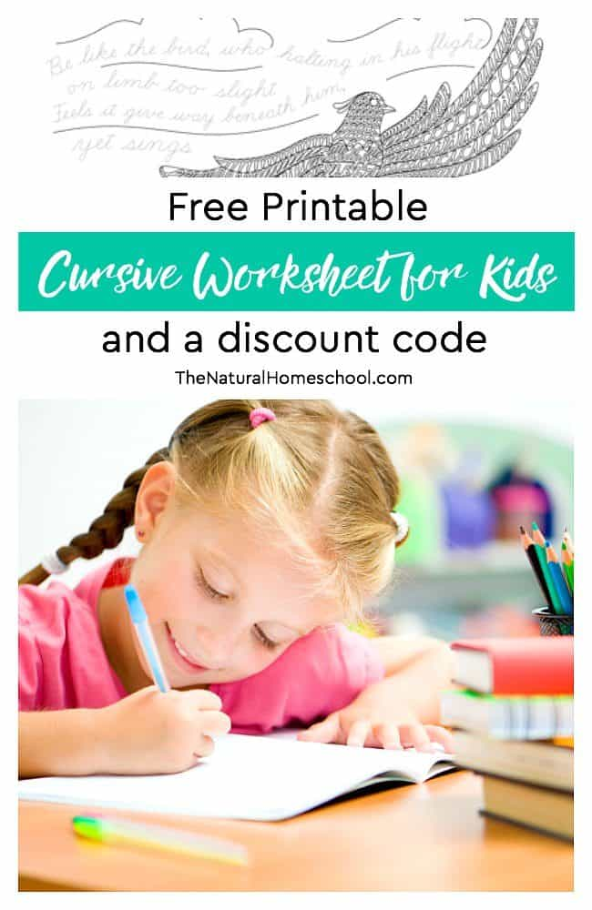 In this post, you will have a chance to see the program that we use and love. You will also get a free printable cursive worksheet for kids and a (time sensitive) discount code!