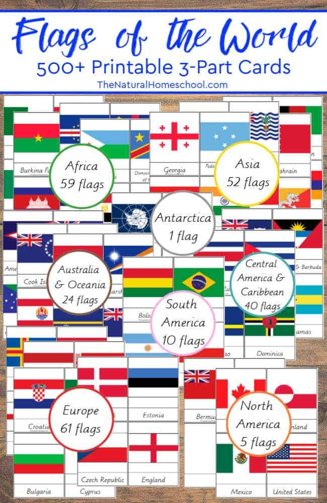 I decided to make this set of 500+ country flags of the world printable 3-part cards MEGA bundle! It is already one of our favorite sets and we are already learning so much with it!