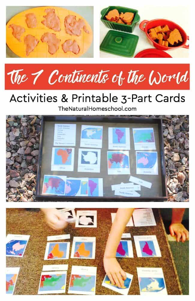 Our post is about the 7 continents of the world and some fun activities that include a set of free printable 3-part cards that will teach kids the continent names, shape and location on a world map.