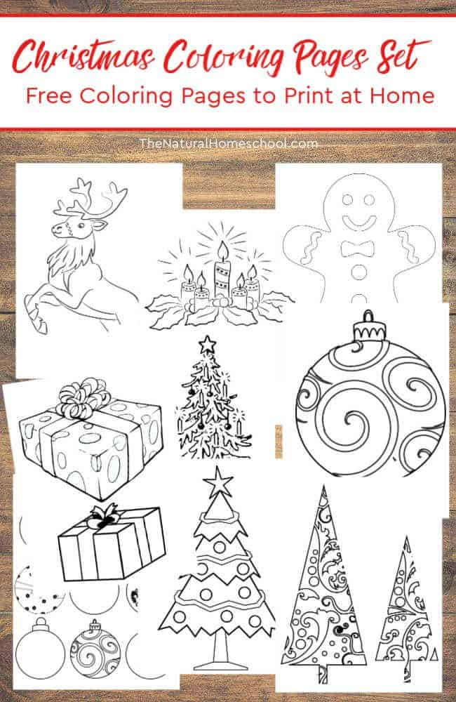 In this post, you can see a wonderful Christmas Coloring Pages Set. It is a bundle of free coloring pages to print at home and use for decorations or just for fun.