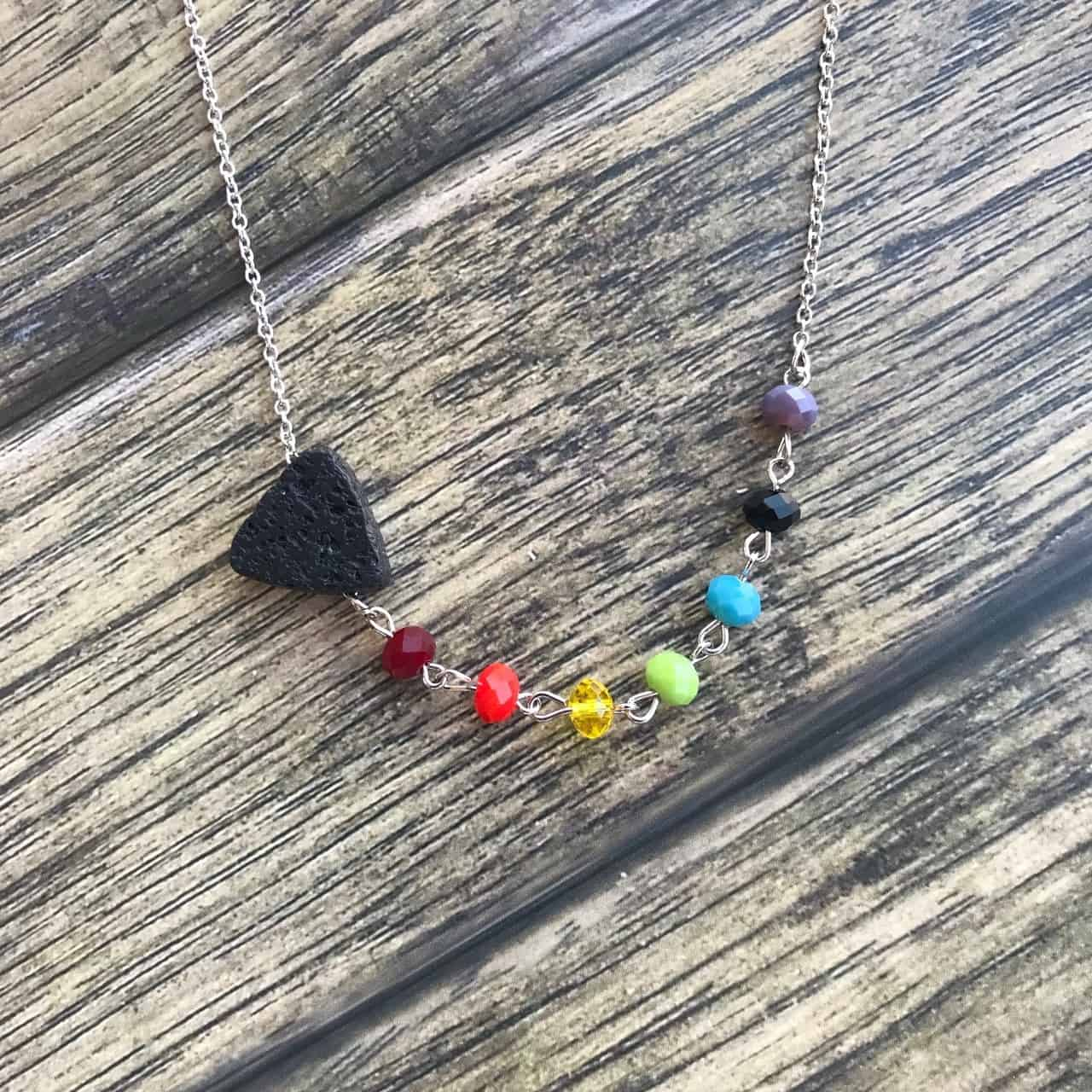 TRIANGLE LAVA NECKLACE WITH MULTI COLOR STONES