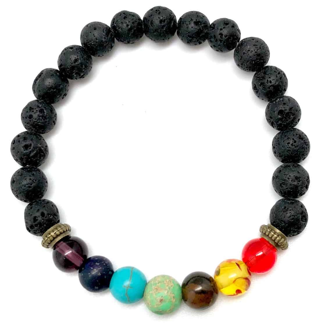 Gemstone Bracelet with Lava Beads For Essential Oils
