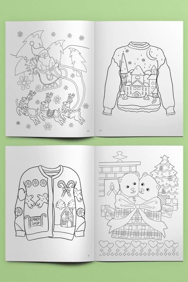 From coloring a super tacky Christmas sweater coloring page or a sweet teddy bear gift, your kids will have a lot of fun celebrating the Christmas season with these 46 free coloring pages to print!