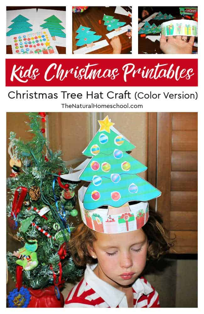 8e49a597e5426 Kids Christmas Printables ~ Christmas Tree Hat Craft (Color Version ...