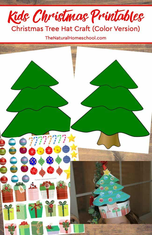 Take a look at these kids Christmas printables! It is a wonderful set that makes a Christmas tree hat craft (color version)!