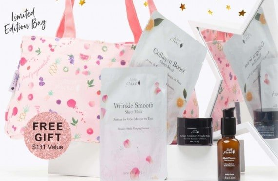 We wanted to let you know 100% Pure is having an amazing SGWP (super gift with purchase) promotion right now and we would love to have you take advantage of it! It's $131 worth of beautiful and helpful beauty products just for you!