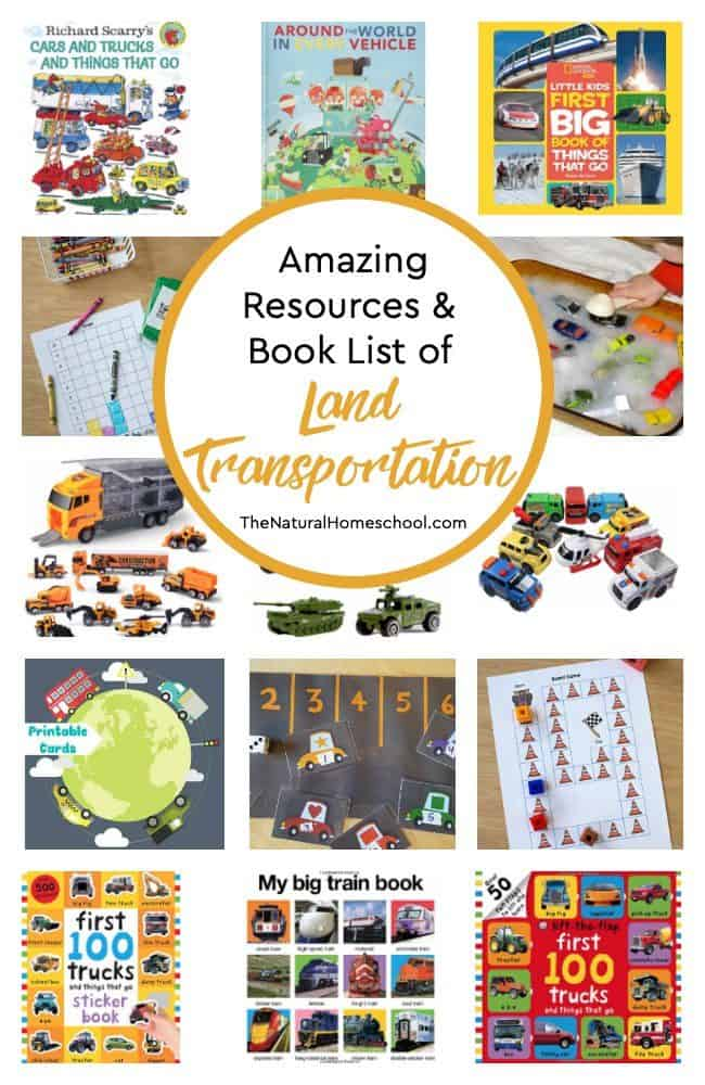 I put together this post to review our land transportation lessons. Here are the most amazing resources and book list of land transportation! You and your kids will love them!