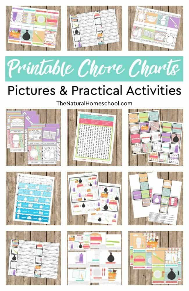 Here, we show you a beautiful bundle with 12 Printable Chore Charts Pictures and Practical Activities that you and your kids will love!