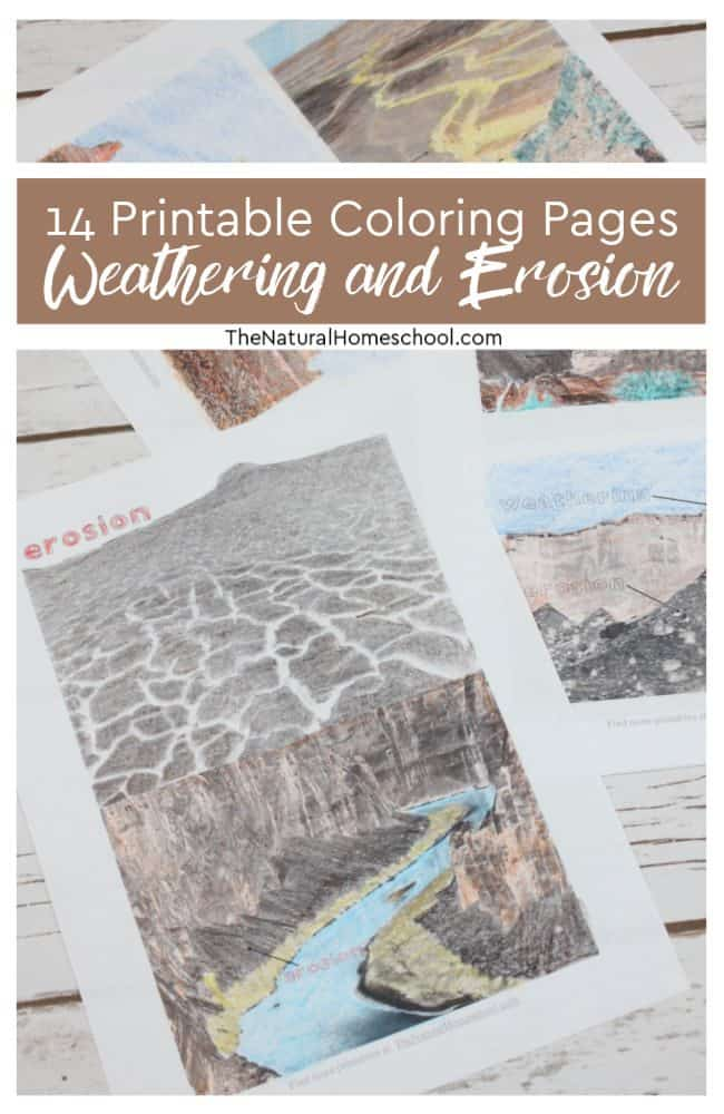 These weathering and erosion pictures to print are a great visual on what erosion and what weathering look like. Take a look at these 14 printable weathering and erosion coloring pages that will be useful to you in your homeschool!