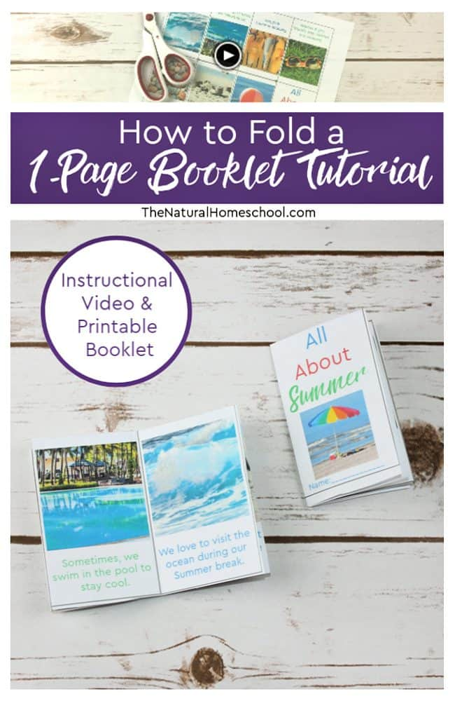 In this post, I will show you how to fold a 1-page booklet tutorial with an instructional video! I am including the written instructions for different learners as well.