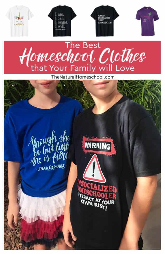 I put together a list of some of the homeschool t-shirts we have and some that are on our wishlist! Take a look at the best homeschool clothes that your family will love!