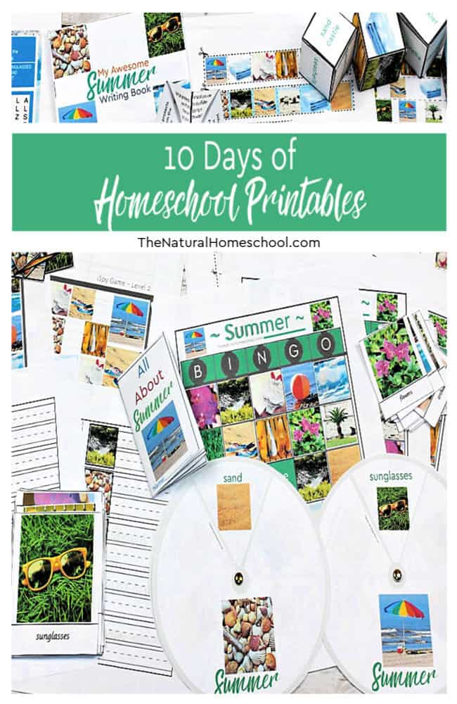 For 10 days, I am going to share with you a free homeschool printable and activities that go with them. In our series, we have a couple of dozen homeschool moms that bring you 10 days of tips in their own topic.