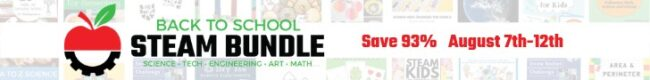 The Back to School STEAM Bundle sale is happening August 7th-12th. 3 different products, all 93% off!