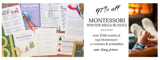 Go ahead and click HERE to gain access to the 2019 Montessori Winter Mega Bundle, including your early bird bonuses.