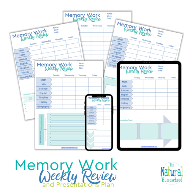Come and take a look at how this Classical Conversations Printable Memory Work Weekly Review & Presentations Plan works!