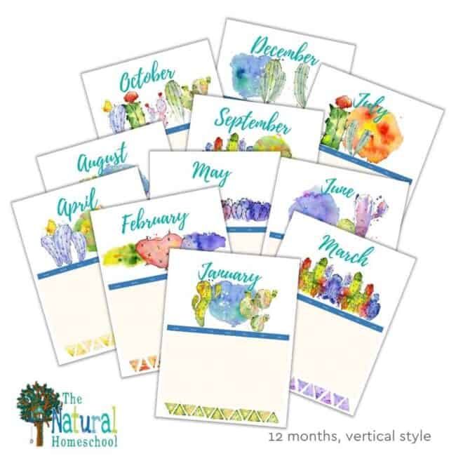 Do you need a beautiful homeschool vertical and horizontal calendar? Take a look at these 2 great homeschool 12-month calendars.