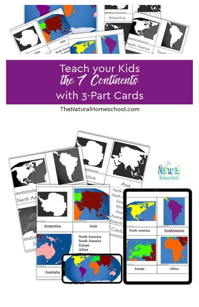 We need you to get the Continents 3-Part Cards Printable and for you to be able to do these 4 Continent Studies activities at home with your children.