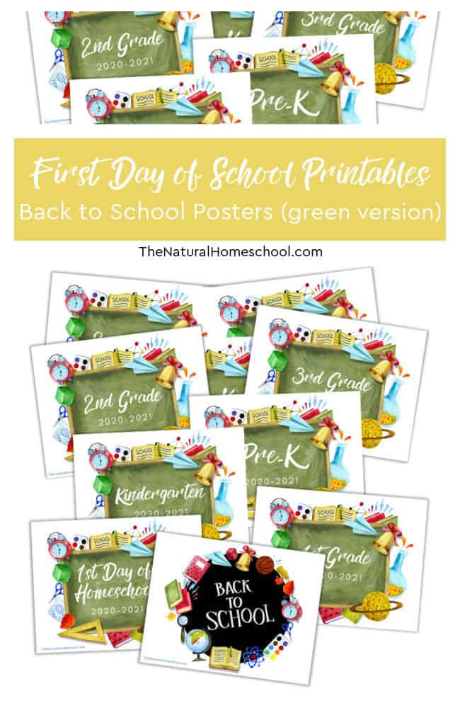 Let's start the school year off right with some great pictures and fun memories using our First Day of School Printables for your kids! Come check out these Back to School Posters (green version) because they're so cool!