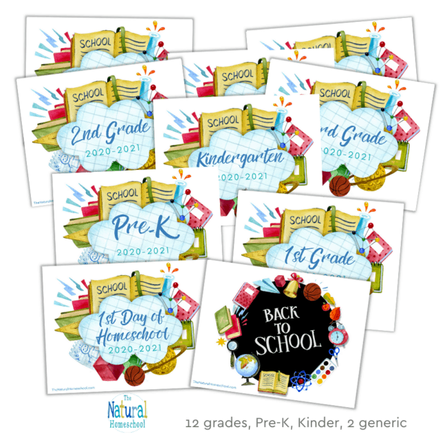 Come and get your set of First Day of School Printables for your kids to get awesome pictures! These Back to School Posters (blue version) are seriously incredible!