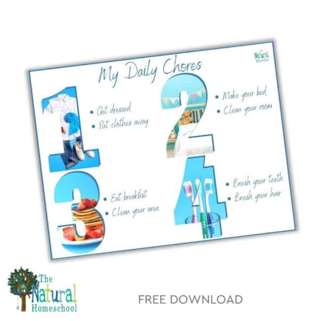 In this post, you can get a simple visual daily chore chart printable download!